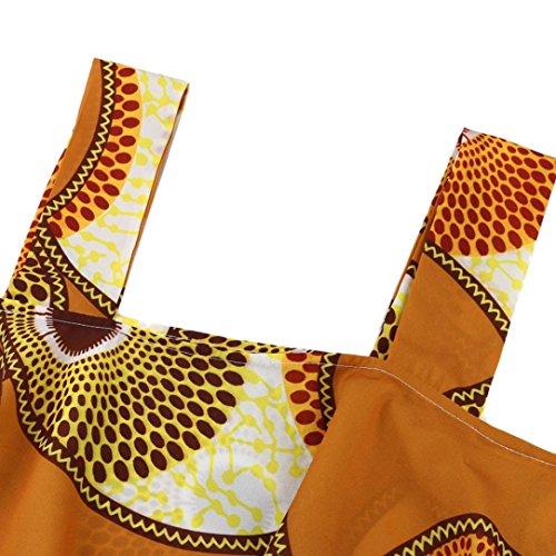 Sexyville Dbardeur Femme African Impression Loose Chemisier sans Manche Tops T-Shirt Gilet Tank Vest Camisole Caf