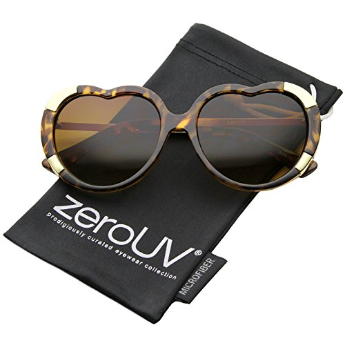 zeroUV - Womens Fashion Oversize Metal Detail Heart Shaped Sunglasses 57mm (Tortoise-Gold / - Designer Shaped Heart Sunglasses