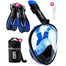 [4-Piece Set] Snorkel Set - Snorkeling Gear - Snorkel Mask Full Face - Snorkeling Set Adult Kids & Youth + Extra Diving Fins Dry Bag & Anti Fog Spray - Gopro & Scuba Dive Gear - Easy Go Pro Head Mount