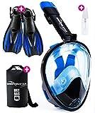 [4-Piece Set] Snorkel Set - Snorkeling Gear - Snorkel Mask Full Face - Snorkeling Set Adult Kids & Youth + Extra Diving Fins Dry Bag & Anti Fog Spray - Gopro & Scuba Dive Gear - Easy Go Pro Head Mount