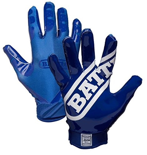 Battle Youth DoubleThreat Football Gloves, Navy/Navy, Large