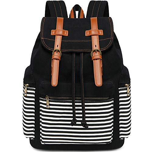 Girls School Backpack Women College Bookbag Canvas Travel Rucksack 15.6Inch Laptop Bag (Black Stripe)