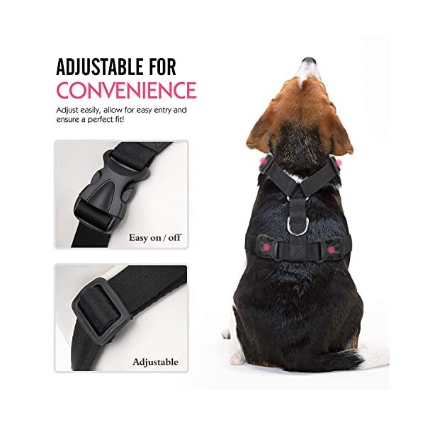 Pawaboo Dog Safety Vest Harness, Pet Dog Adjustable Car Safety Mesh Harness Travel Strap Vest with Car Seat Belt Lead Clip. 4