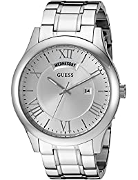 GUESS Men's U0791G1 Classic Silver-Tone Watch with Date Function