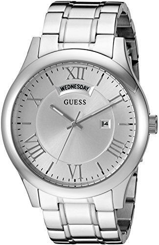 GUESS Men's U0791G1 Dressy Silver-Tone Stainless Steel Watch with Day & Date Dial and Pilot Buckle
