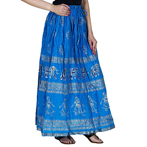 Indian Handicrfats Export Gold Printed Cotton Long Skirt for Women (Free Size)