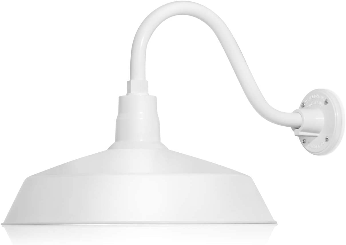 17in. White Finish Outdoor Gooseneck Barn Light Fixture With 14.5 in. Long Extension Arm - Wall Sconce Farmhouse, Vintage, Antique Style - UL Listed - 9W 900lm A19 LED Bulb (5000K Cool White)