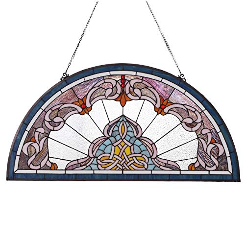 es Lady Astor Demi-Lune Tiffany Style Stained Glass Window Panel with Hanging Chain ()