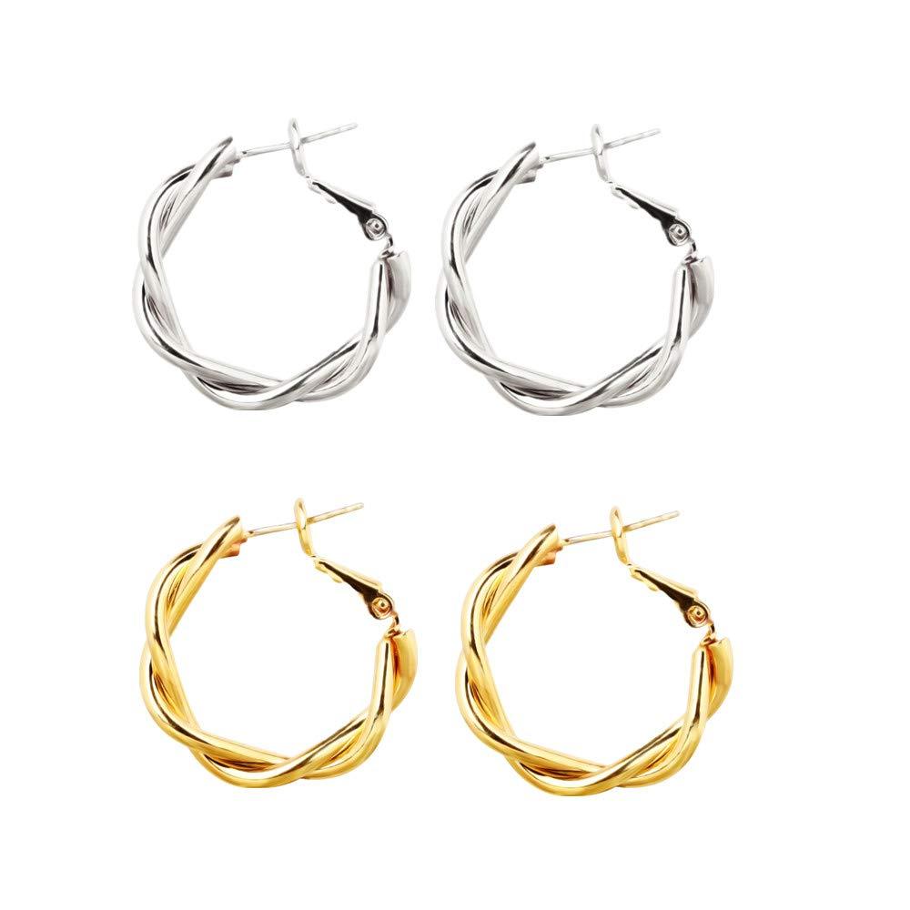 oro e argento per donne e ragazze Set di 2 paia di orecchini a cerchio intrecciati in acciaio inossidabile