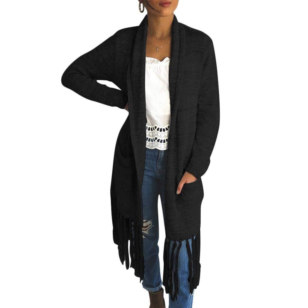 Ankidz Women Casual Front Open Long Sleeve Tassel Knitted Cardigan Cardigans Black