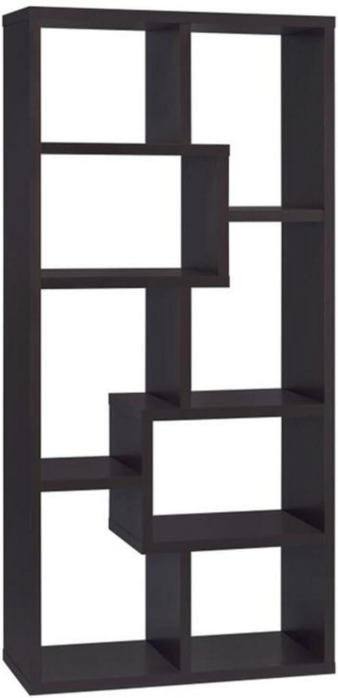 Asymmetrical Cube 8-shelf Bookcase Cappuccino