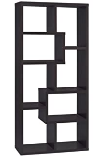 Asymmetrical Cube 8 Shelf Bookcase Cappuccino
