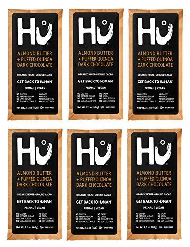 Hu Kitchen Dark Chocolate Bars, 2.1 oz, Almond Butter & Puffed Quinoa 72% Chocolate Bar (6 Pack)