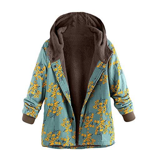 (Womens Oversize Down Jackets Duseedik Winter Warm Outwear Floral Print Hooded Overcoat Pockets Vintage)