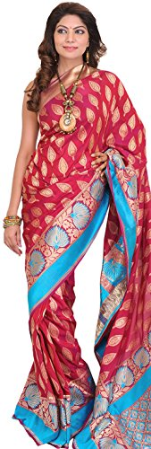 Exotic India Sangria-Red Banarasi Jamawar Sari with Hand-woven Leaves and - Pink (Pink Indian Sari Adult Costume)