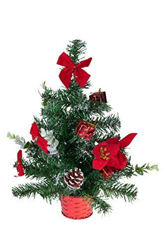 Table Top Christmas Tree with Ornaments | Poinsettias and Presents | Green and Red Christmas Decor Theme Shatter Resistant Ornaments | Stands 18