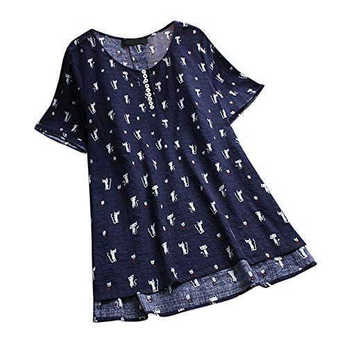 Aniywn Women's Plus Size Linen Vintage T-Shirt Loose Printed Patchwork 3/4 Sleeve Tops Blouse Navy