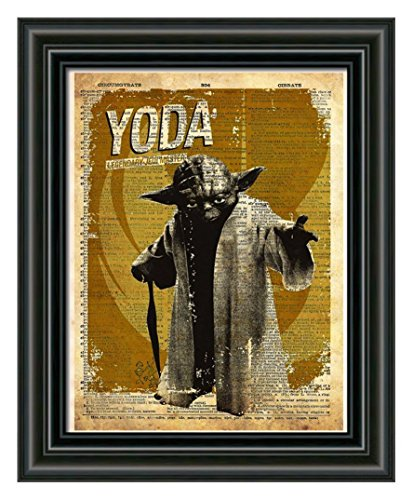 Yoda star wars art, Jedi knight, splatter art print, dictionary page print