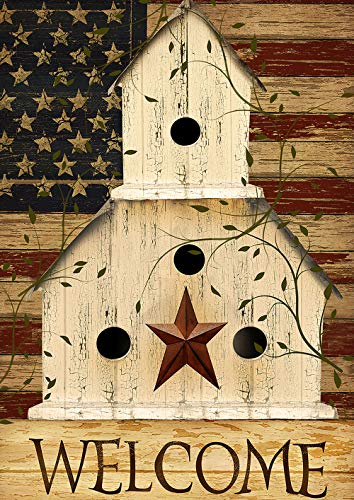 Americana Birdhouse Garden Flag - Toland Home Garden 1012200 Americana Birdhouse Welcome 28 x 40 Inch Decorative, Fall Autumn, House Flag