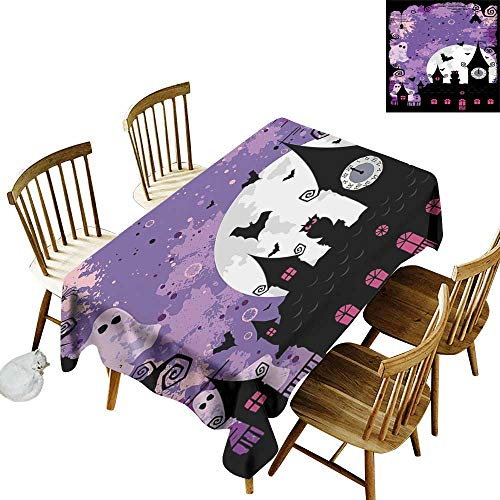 Vintage Halloween 3D Printed Long Tablecloth Desktop Protection pad Halloween Midnight Image with Bleak Background Ghosts Towers and Bats W14 x L108 Inch Purple Black]()