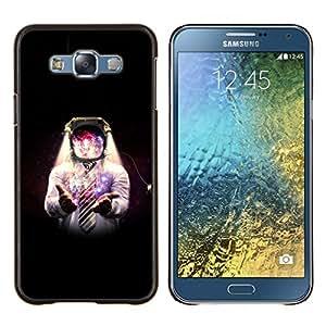 KLONGSHOP // Cubierta de piel con cierre a presión Shell trasero duro de goma Protección Caso - Espacio Galaxy Hombre - Samsung Galaxy E7 E700 //