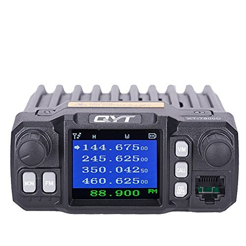 390 Telephone - QYT Quad Band 25W 136-174/220-270/350-390/400-480MHz 200 Channels Colorful Screen Mini Mobile FM Radio with Cable KT-7900D
