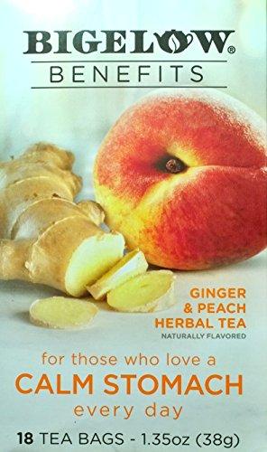 Bigelow Benefits Herbal Tea (Pack of 2) Ginger Peach, 18 Count (Ginger Peach Decaf Tea)