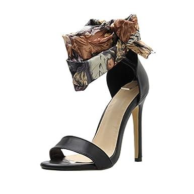 555cb2666e8f9 Corriee Women's High Heels Shoes Ladies Summer Cross Silk Strap Sandals for Graduation  Ceremony Black