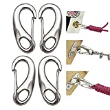 4PCS Spring Snap Hook Clip Multifunctional Quick Link Carabiner Stainless Steel Flag Pole Hardware to Attach with Rope