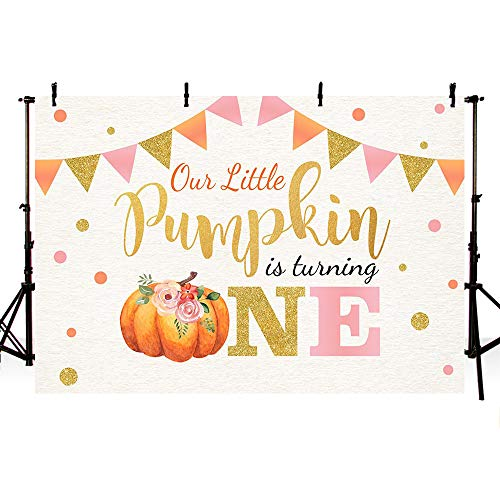 Halloween Carousel Pumpkin (MEHOFOTO Little Pumpkin Birthday Party Photo Background Banner Fall Autumn Our Little Pumpkin Girl Happy 1st Birthday Pink Gold Dots Backdrops Props for Cake Table Supplies)