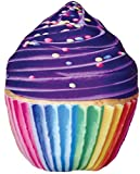 iscream Photoreal Purple Icing Cupcake Shaped 19'' x 16'' Microbead Accent Pillow