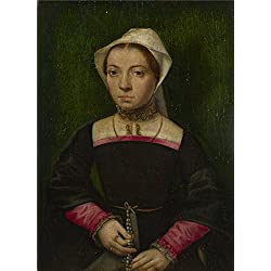The Polyster Canvas Of Oil Painting 'Catharina Van Hemessen A Lady With A Rosary ' ,size: 10 X 14 Inch / 25 X 35 Cm ,this Vivid Art Decorative Prints On Canvas Is Fit For Basement Decor And Home Decoration And Gifts