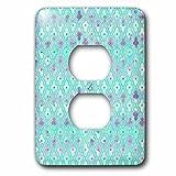 3dRose Uta Naumann Faux Glitter Pattern - Luxury Trendy Blue and Purple Moroccan Arabic Quatrefoil Tile Pattern - Light Switch Covers - 2 plug outlet cover (lsp_268955_6)
