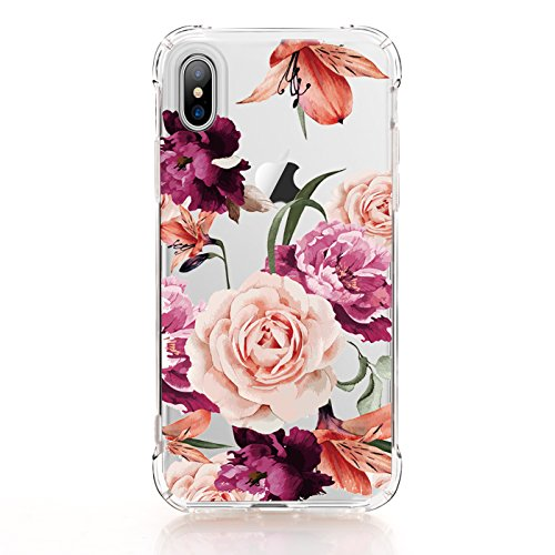 iPhone X Case,iPhone X Case with flowers, LUOLNH Slim Shockproof Clear Floral Pattern Soft Flexible TPU Back Covercase for iPhone X 2017 -Purple Rose