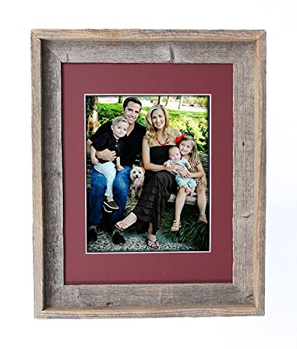 Maroon Wood - BarnwoodUSA 8 by 10 Inch Signature Picture Frame for 5 by 7 Inch Photos - 100% Reclaimed Wood, Maroon Mat
