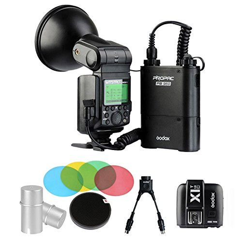 EACHSHOT Godox AD360II-C 360W GN80 E-TTL Flash Speedlite Built-in 2.4G X Wireless System For Canon + PB960 Battery + XIT-C + Color Filters + two-in-one Cable + Bulb Cover by Godox