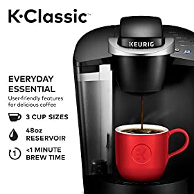 Keurig K55/K-Classic Coffee Maker, K-Cup Pod, Single Serve, Programmable, Black