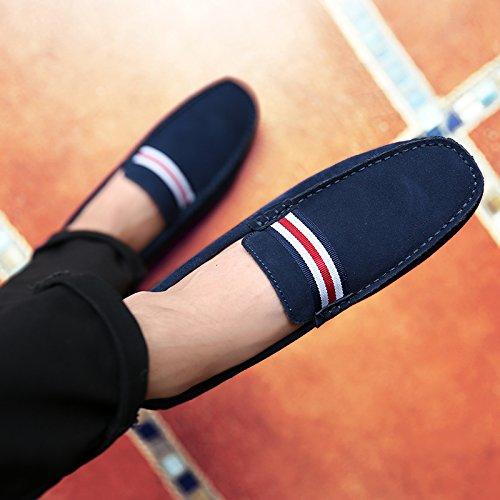 Abby 9869 Mode Loafers Eleganta Tillfälliga Slip-on Pigg Mockasiner Driver Ludd Tofflor Blå