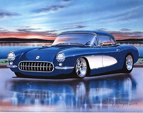 1956 57 Chevy Corvette Classic Car Art Print Blue & White 11x14 Poster ()