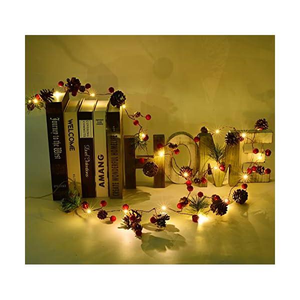 YQing 204cm Bacca Natale Ghirlanda, LED Ghirlanda Natalizia Bacca Rossa Natale Ghirlanda di Pino per Le Decorazioni Natalizie di Capodanno per Le Vacanze di Natale 6 spesavip