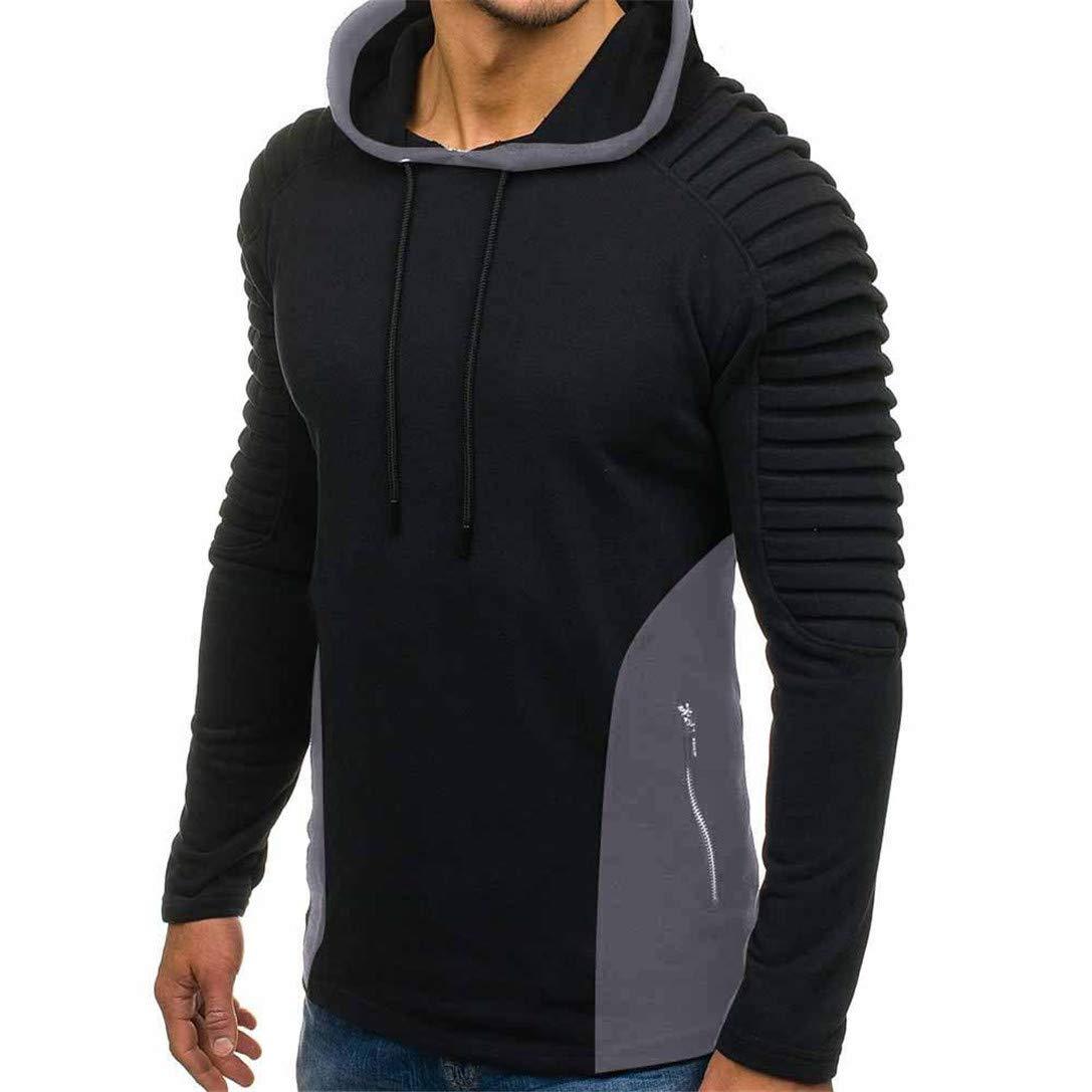 FRCOLT Pleats Hoodie, Mens Autumn Pleated Slim Fit Zipper Raglan Long Sleeve Hoodie