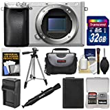 Sony Alpha A6300 4K Wi-Fi Digital Camera Body (Silver) with 32GB Card + Case + Battery & Charger + Tripod + Kit