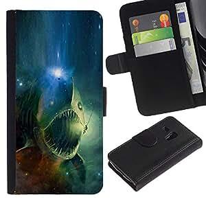 All Phone Most Case / Oferta Especial Cáscara Funda de cuero Monedero Cubierta de proteccion Caso / Wallet Case for Samsung Galaxy S3 MINI 8190 // Space Skull Fish