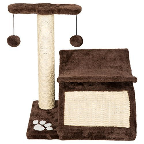 Hollypet Cat Activity Tree Bed Scratching Post Pet Furniture Scratcher Play House Condo Coffee 17.7 Inch High