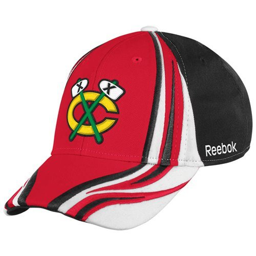 Adult Hat Equipment Reebok - NHL Reebok Chicago Blackhawks Red-Black Inferno Flex Hat (Small/Medium)