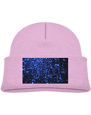 Kids Knitted Beanies Hat Blue Stars Winter Hat Knitted Skull Cap for Boys Girls Black