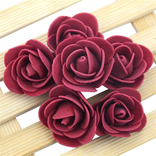 Rose Garden China Block (OMSTION 100Pcs/Lot Mini Flower Artificial Rose Flowers Handmade DIY Wedding Home Decoration Wine red)