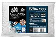 Travesseiro Extravisco Ions de Prata para Fronha Fibrasca Branco 50x70 cm Viscoelástico