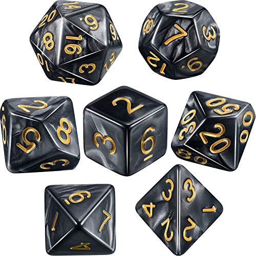 ANFIMU Polyhedral 7-Die Dice Set Dungeons Dragons Purple /& Yellow 2 Set