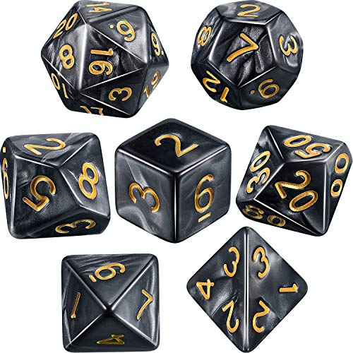 Polyhedral 7-Die Dice Set for Dungeons and Dragons with Black Pouch (Black Gray) ()
